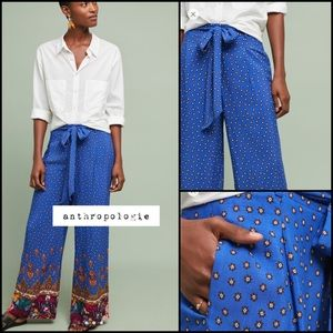 Anthropologie Printed Wide-Leg Trousers NWT New